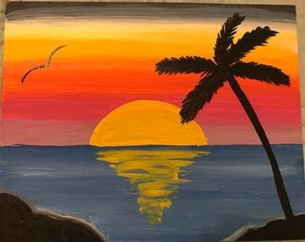 Sunset painting, landscape painting, palm tree