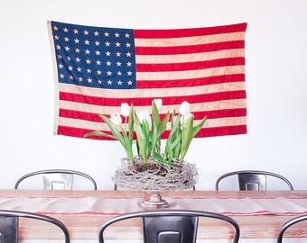 Vintage 48 Star American Flag / Valley Forge Flag Co / Rustic Modern Decor