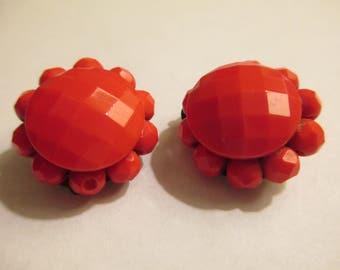Red Multi-faceted Earrings