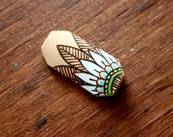 Tribal Henna Inspired Tube Bead