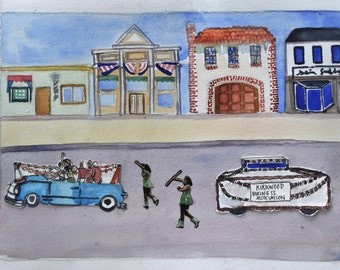 Parade Kirkwood.  Original Collage Watercolor.