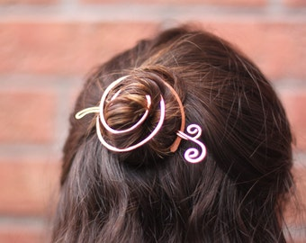 Spiral bun cage with a wavy twisted swirly stick in copper - Hair slide - Hair accessory - Hair barrette - Hair pin - HP016