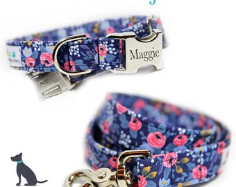 Floral Dog Collar and Leash set, Personalized Collar, Rifle Paper Co, Les Fleurs Rosa Flora Navy Engraved