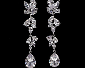 Wedding jewelry bridal party prom christmas gift multi shape cluster AAA cubic zirconia post teardrop earrings rhodium bold statement post