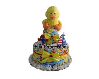 Nautical Duck, Boy 2 Tier Diaper Cake Baby Shower Gift & Centerpiece