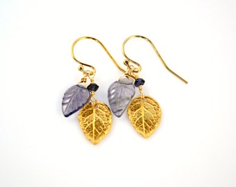 Leaf Charm Earrings, Carved Blue Grey Iolite Leaf Beads and Detailed Gold Vermeil Leaf Charms, Leaf Earrings, Gold Leaf Earrings, Blue Gem