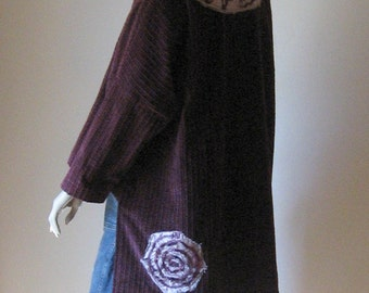 Bordeaux Beauty - Wide Wale Corduroy Tunic Embellished with Silk