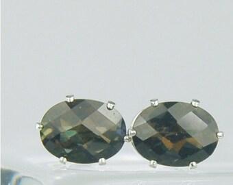 Black Mystic Topaz Sterling Silver Stud Earrings 8x6mm Oval 3.15ctw
