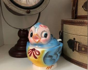 Vintage Lefton Blue Bird Jelly Bowl with Spoon/Ceramic Jelly Jar/Geo Z Lefton/Vintage Dish