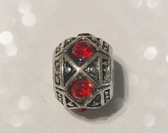 Red Rhinestone Bead Spacer for Big Hole Bead Bracelet