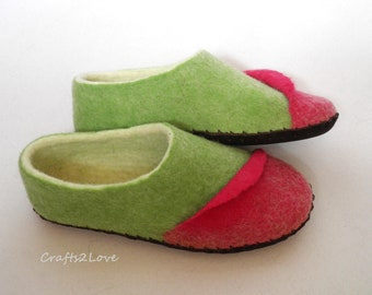 Womens felted slippers Felt wool slippers with soles Woolen house shoes Green mint Crimson Romantic gift to yourself or your loved one!