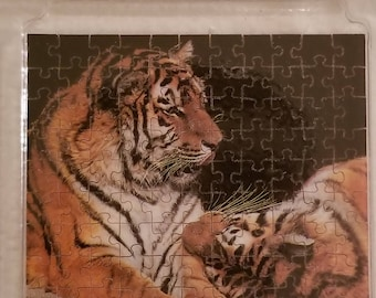 Worlds Smallest Puzzle by K'A'RNAN 99 Piece Miniature Wooden Puzzle of Tigers New Old Stock in Original Package Puzzle