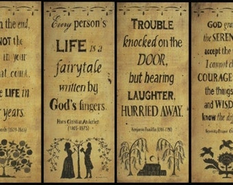 1 Primitive Silhouette Quotation Folk Art Print - Serenity Prayer, Fairytale, Laughter, Life. Abe Lincoln, Benjamin Franklin. Free Shipping.