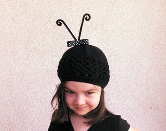 Ladybug Beanie - Crocheted Beanie with Removable Antenna Clip