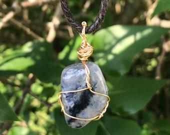 Wire Wrapped Blue Quartz Pendant Necklace