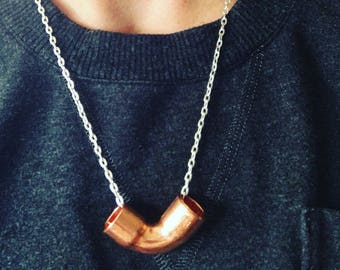 Matte Minimalist - Simple Copper Elbow Necklace