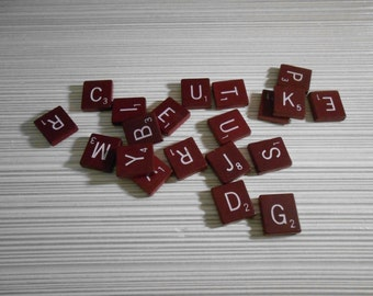 Vintage Scrabble Tiles . Set of 20 . Maroon or Wine Colored . Vintage Game Pieces .  Jewelry Making . Embellishments . Altered Art