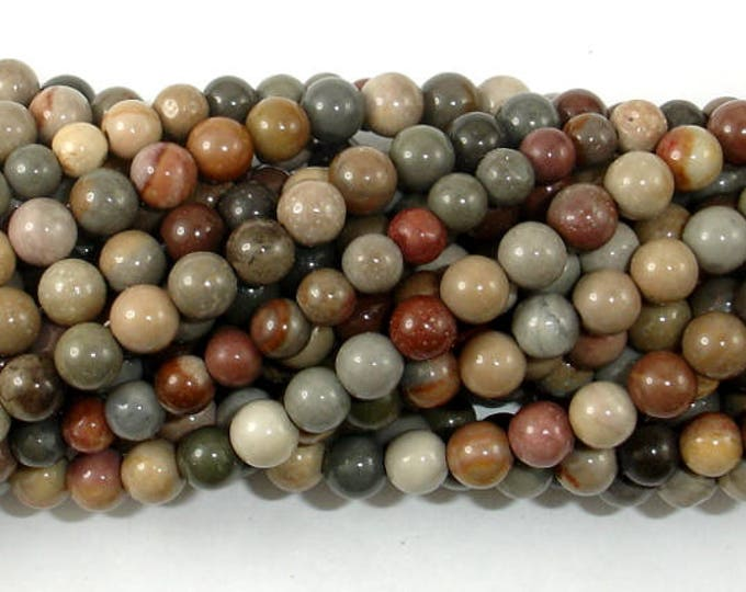 Polychrome Jasper, 4mm(4.5mm) Round Beads, 15.5 Inch, Full strand, Approx 88 beads, Hole 0.8mm(317054003)