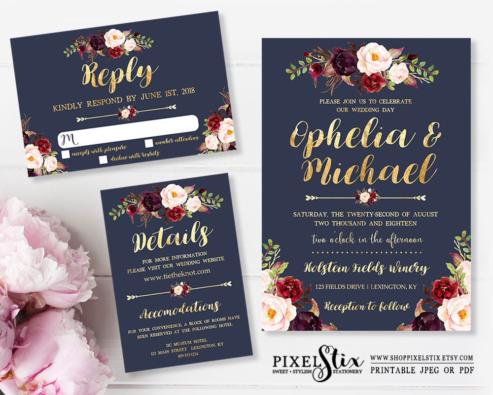 Printable Wedding Invitation Navy Blue and Gold Foil Dark