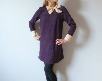 Tone on tone squared purple mixed woolen straight dress