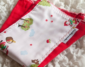 Baby burp cloth - Little Red Riding Hood bright red hand dyed burp cloth