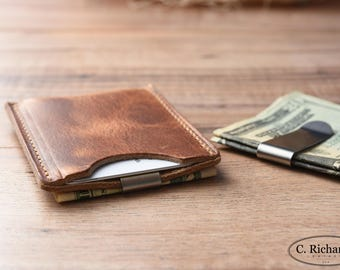 Minimalist Money Clip Wallet, Simple Leather Card Sleeve, Personalized Money Clip Wallet, Awesome Gift ~