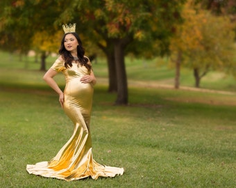 Gold Maternity Dress for Photo Shoot-Long Maternity Dress-Shiny Maternity Gown-Sweetheart Dress-Maxi Gown-Shimmer Maternity Dress-BELLA