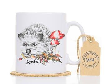 Hedgehog Coffee Mug, Personalised Gift Mug, Woodland Coffee Cup, Custom Kid's Gift, Hedgehog Lover Gift