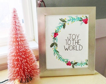 8x10 Joy to the World Watercolor Print