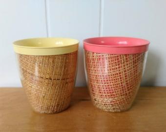 2 vintage raffia straw weave tumbler cups