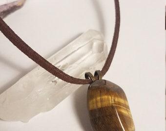 Tiger Eye Pendant, Genuine, Raw, Stone, Adjustable Necklace, Boho layering