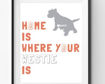 Westie Art Print, Westie Owner Gift, Dog Lovers, Personalized Dog Print, West Highland White Terrier Art, Custom Dog Print, Westie Poster