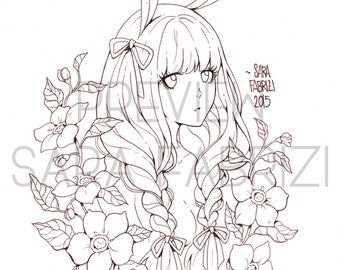 Bunny Girl - LINEART for coloring