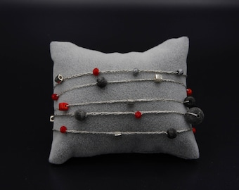 Long necklace and/or bracelet entirely hand made in pure royal silk