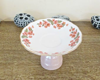 High Tea Stand Foodie Gift - Afternoon Candy Buffet Table Crockery  - Pink Vintage Wedding Dessert Sweets Servingware - Floral Botanical