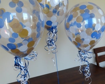 """3, 6, or 10 Count: Large 16"""" Confetti Balloons with Royal Blue, Gold, & White Confetti- Wedding, Shower, Baby, 1st Birth, Prince, Prom, Grad"""