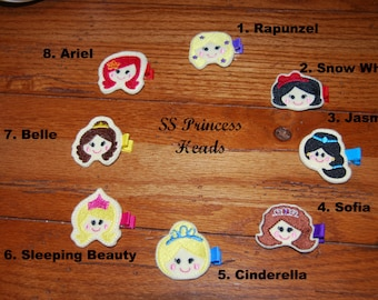 ALL 8 Felt Embroidered Princess Collection Hair Clips-Heads Only /  Birthday Party Favors / Birthday Gifts