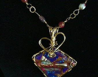 Purple Mohave 14Kt Gold Filled Pendant with Amethyst and Spiny Oyster Shell Bead Chain Necklace Set
