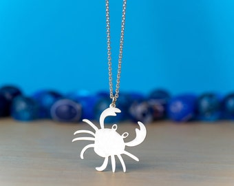 Crab Necklace Crab Pendant Cancer Sea Animal Necklace Sterling Silver Kids Teen Gift Blue Crab Birthday gift