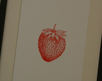 Screen printed strawberry poster