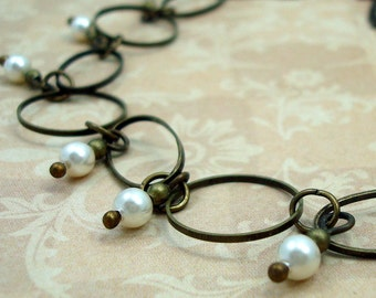 Pearl Hoop Necklace Handmade with Cream Swarovski Pearls and Brass Hoops