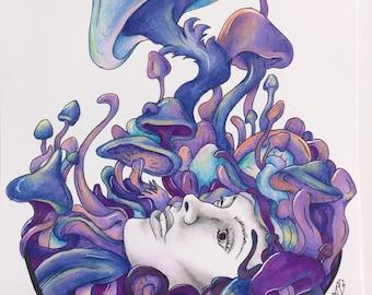 Psilocybin Garden Goddess purple print