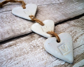 FREE SHIPPING- Loveheart hanger, Hand-made in Yorkshire- Ceramic loveheart hanger white, Valentine's Day gift