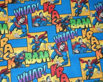 Superman Fabric, Camelot Fabrics, WHAP, BAM, KRACK, Cotton Fabric, Sold by the yard