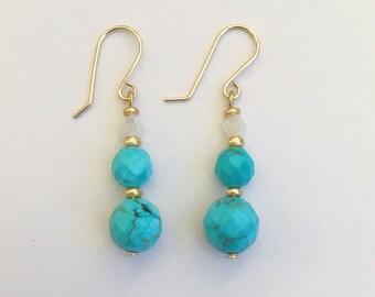 Blue Turquoise Earrings,Swarovski Crystal Earrings, Turquoise Earrings