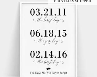 First Day, Yes Day, Best Day, Best Day Custom Print, Personalized Wedding Gift, Engagement Gift, Important Dates Gift, Relationship Timeline