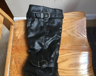Knee length Women's Black Boots (size 7.5)