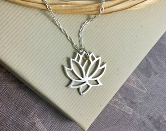 Large sterling silver lotus flower pendant necklace, minimalist everyday yoga jewelry N342