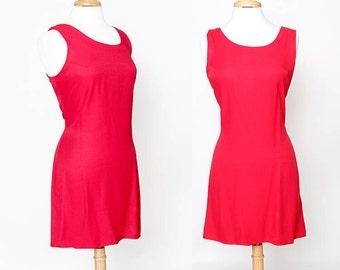 CLOSING SALE Vintage 90s Red Sleeveless Dress