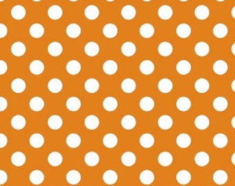 Orange Polka Dot Fabric - Riley Blake Medium Dot - Citrus and White Dot Fabric